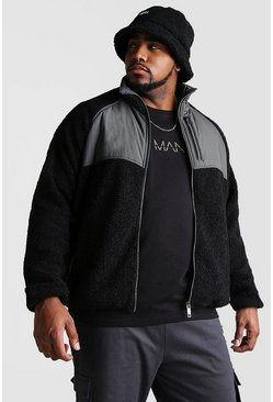 Black Big And Tall Fabric Mix Borg Jacket