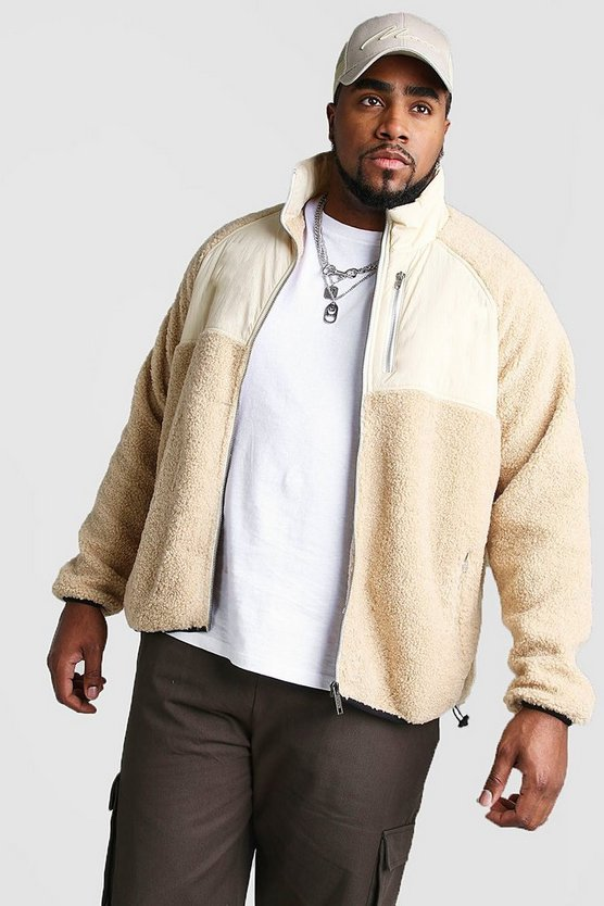 big and tall fabric mix borg jacket boohooman. Black Bedroom Furniture Sets. Home Design Ideas