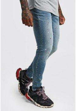Mens Mid blue Skinny Stretch Jean With Paint Splat