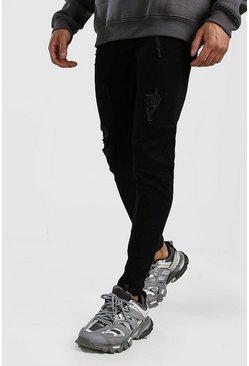 Mens Black Skinny Jeans With Abrasions