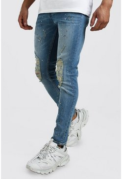 Mens Light blue Skinny Paint Splat Jeans