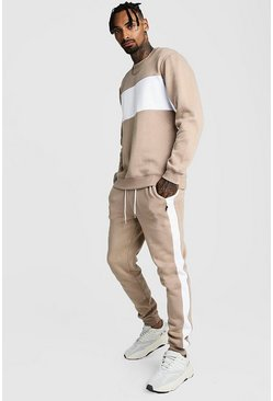 Taupe Sweater Tracksuit With Contrast Panels