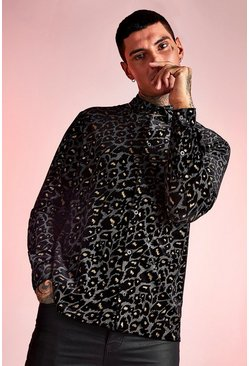 Black Long Sleeve Velour Leopard Shirt