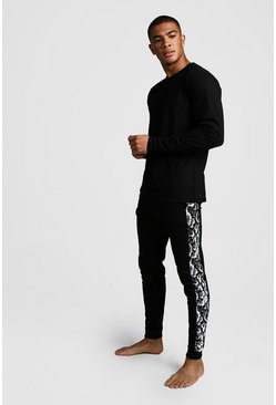 Mens Black Snake Panel Long Sleeve Lounge Set
