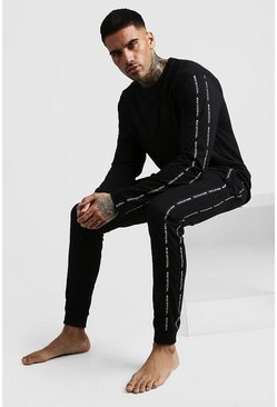Mens Black MAN Official Tape Long Sleeve Cuffed Lounge Set
