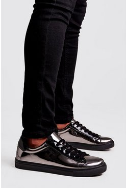 Silver Mirror Shine Lace Up Sneakers