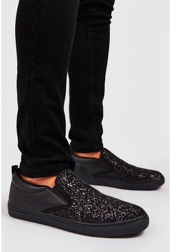 Black Glitter Slip On Trainer