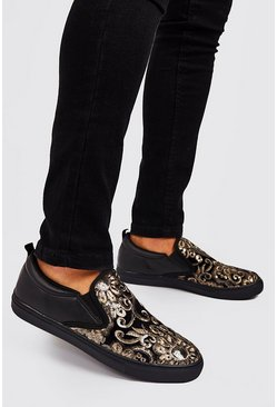 Mens Black Baroque Embellished Ship On Trainers
