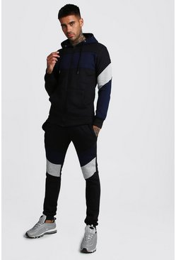 Mens Black Colour Block Zip Through Hooded Tracksuit
