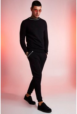 Mens Black Chain Detail Sweater & Jogger Set