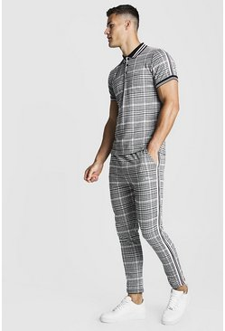 Mens Grey MAN Signature Check Polo & Jogger Set With Tape