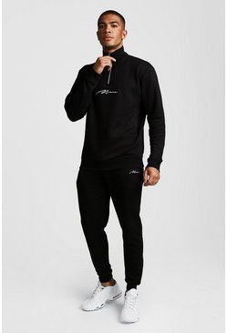 Mens Black MAN Signature Half Zip Funnel Neck Tracksuit