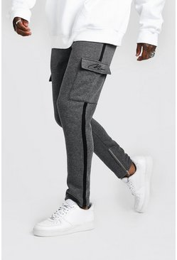 Mens Charcoal MAN Signature Cargo Jogger With Side Tape