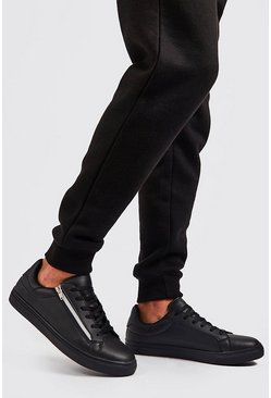 Black Faux Leather Side Zip Sneakers