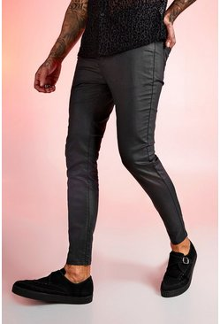 Mens Black Super Skinny Coated Jeans
