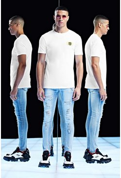 Mens White Premium Muscle Fit T-Shirt With Embroidery