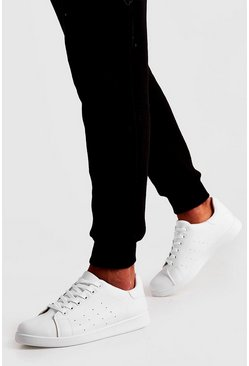 Mens White Lace Up Trainer