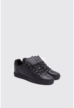 Mens Black Faux Leather Eyelet Lace Up