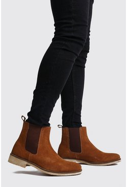 Tan Real Suede Chelsea Boot