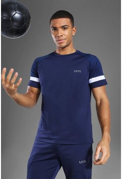 Navy Man Active Patterned Panel T Shirt
