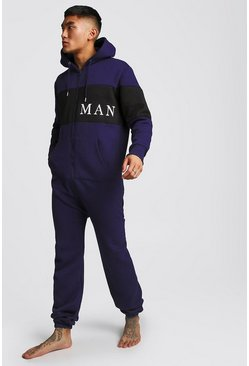 Mens Navy MAN Sport Onesie