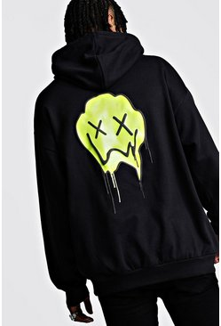 Mens Black Oversized Drip Face Print Hoodie