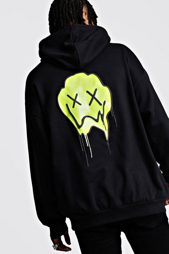 Oversized Drip Face Print Hoodie by Boohoo Man