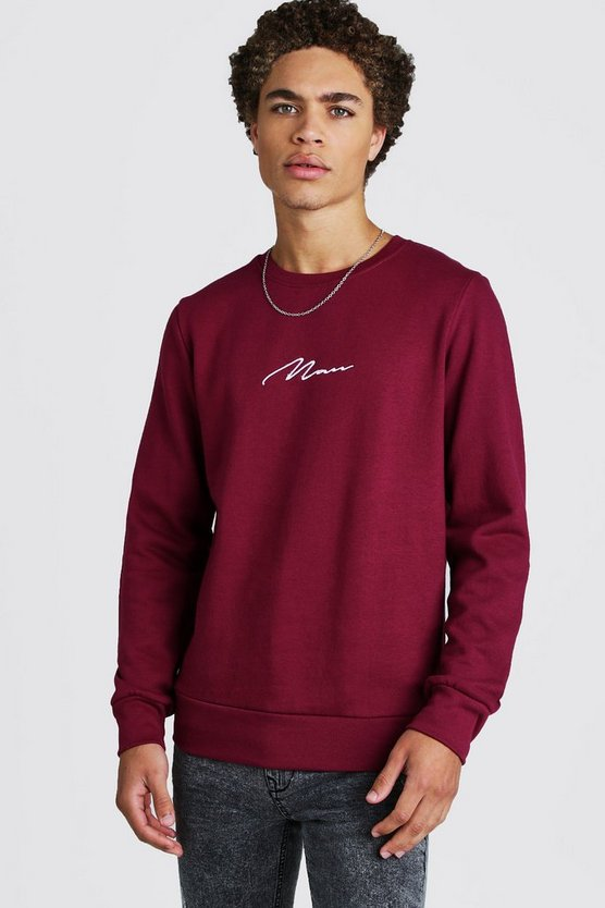 Mens Burgundy MAN Signature Embroidered Sweater