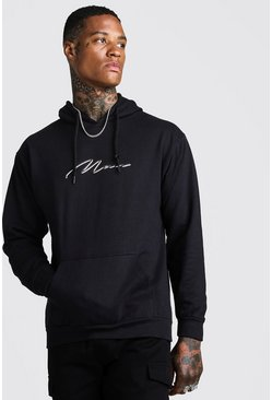 Mens Black MAN Signature Double Layer Print Hoodie