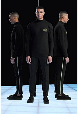 Mens Black Premium Muscle Fit Long Sleeve Roll Neck