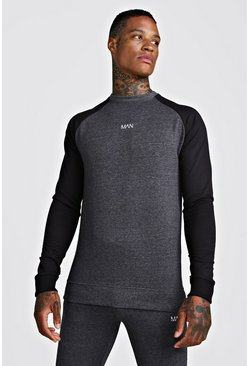 Mens Charcoal MAN Skinny Fit Active Sweater