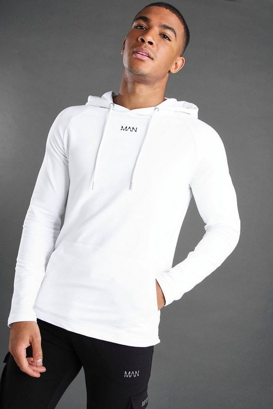 Mens White MAN Muscle Fit Basic Active Hoodie