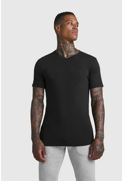 Mens Black MAN Muscle Fit Short V Neck T-Shirt