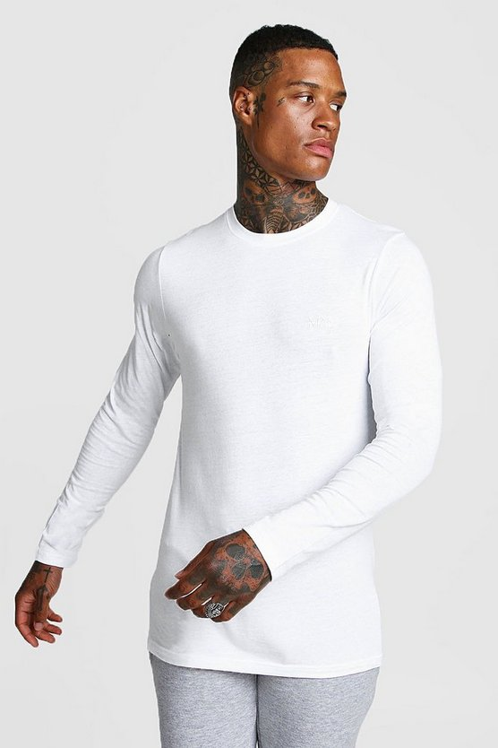 Mens White Long Sleeve MAN Muscle Fit T-Shirt