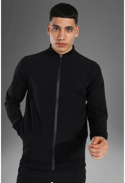 Black Man Active Nylon Fitted Bomber Jacket