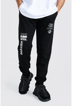Black Official Graphic Print Jogger