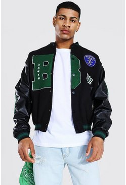Black B Varsity Bomber With Leather Look Sleeves