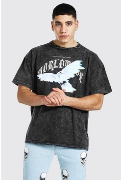 Vintage wash Oversized Dove Flame Print T-shirt