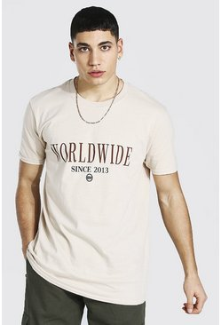 Sand Oversized Worldwide Print T-shirt