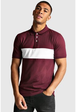 Polo colour block Muscle Fit, Bordeaux