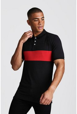 Polo colour block Muscle Fit, Rouge