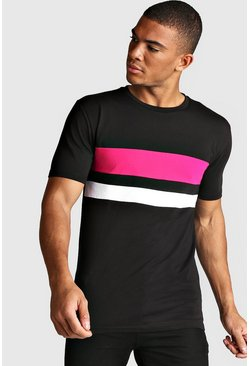 Mens Neon-pink Muscle Fit Colour Block T-Shirt