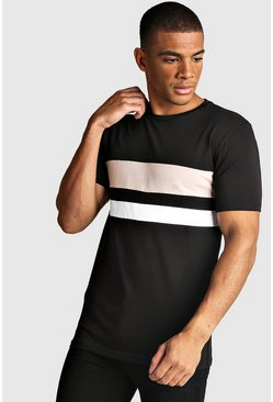 Mens Taupe Muscle Fit Colour Block T-Shirt