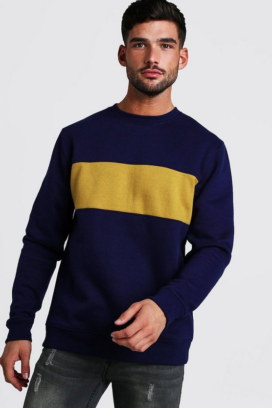 Mens Navy Colour Block Sweater