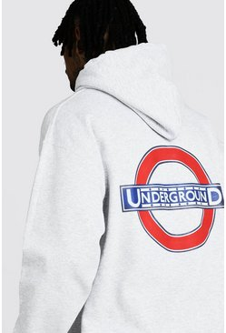 Sweat à capuche London Underground officiel imprimé au dos, Gris, Homme