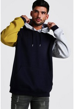 Mens Navy Oversized Colour Block Hoodie