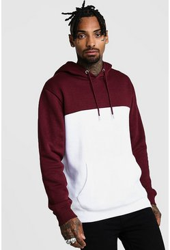 Mens Wine Colour Block Hoodie