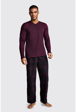 Mens Wine Polar Fleece Long Sleeve Lounge Set
