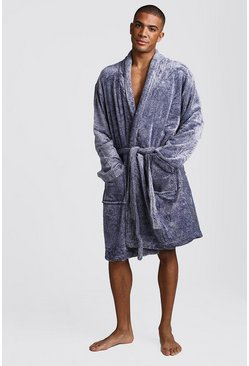 Mens Navy Shawl Collar Fleece Robe