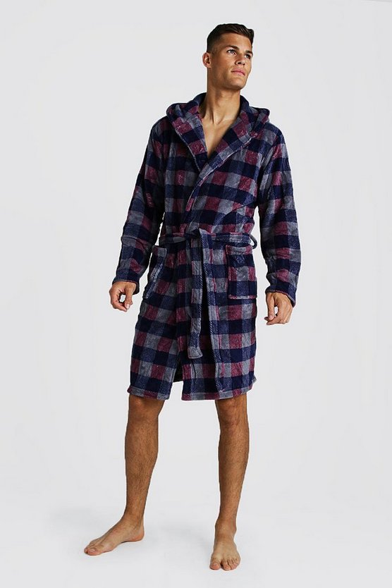 Mens Red Check Print Hooded Fleece Robe